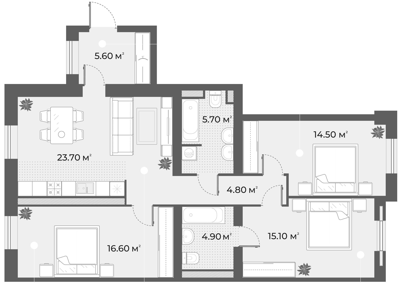 4-комнатная 90 м<sup>2</sup> на 3 этаже