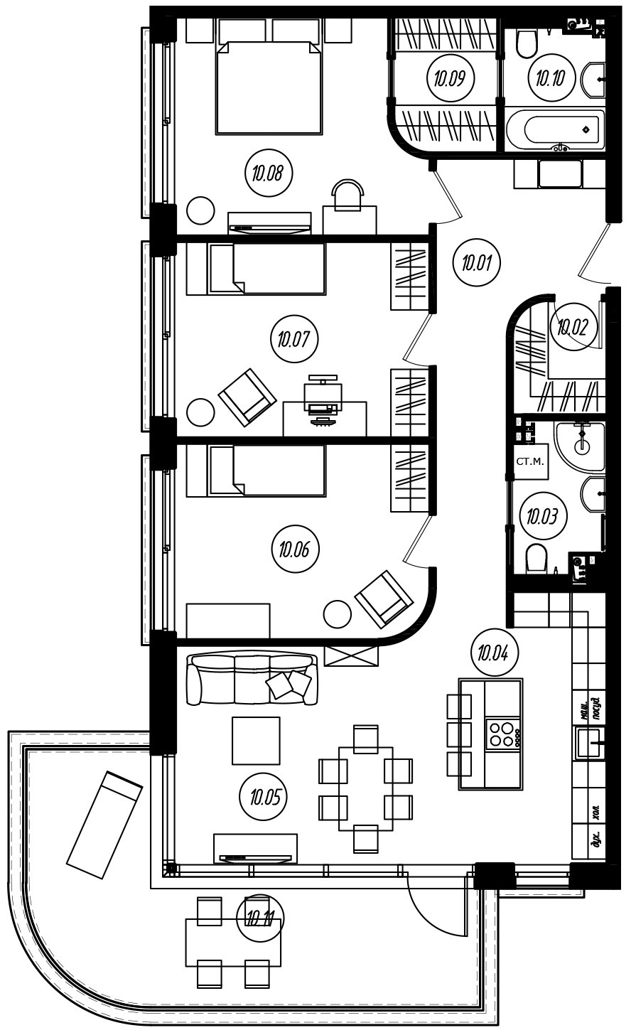 4-комнатная 118 м<sup>2</sup> на 2 этаже