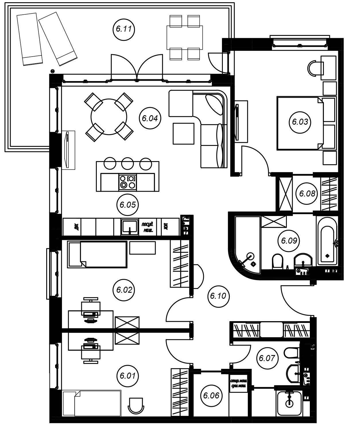 4-комнатная 115 м<sup>2</sup> на 2 этаже