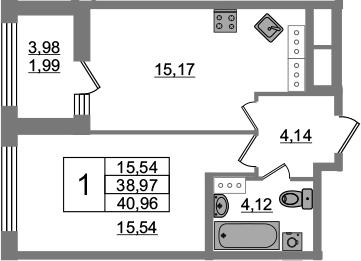 1-комнатная 42 м<sup>2</sup> на 20 этаже