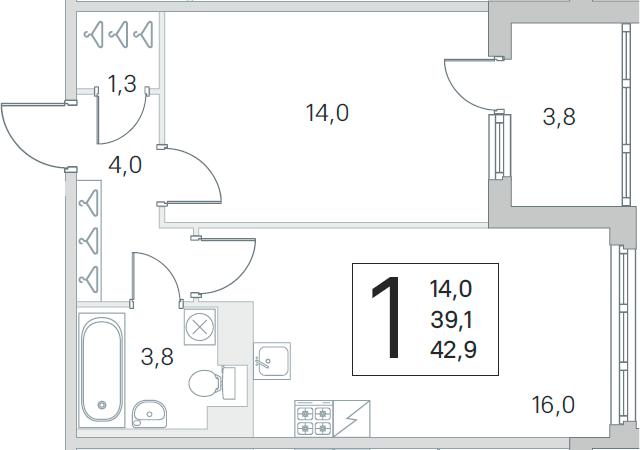 2-комнатная 42 м<sup>2</sup> на 3 этаже