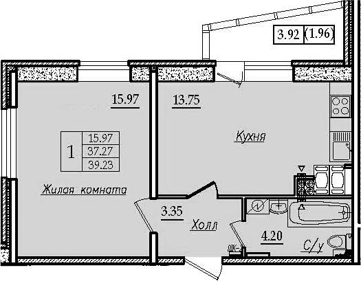 1-комнатная 41 м<sup>2</sup> на 11 этаже