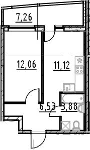 1-комнатная 40 м<sup>2</sup> на 23 этаже