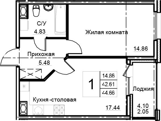 2-комнатная 46 м<sup>2</sup> на 9 этаже