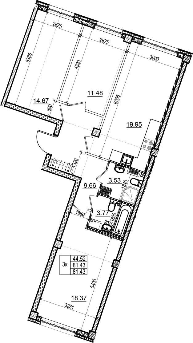 4-комнатная 81 м<sup>2</sup> на 4 этаже