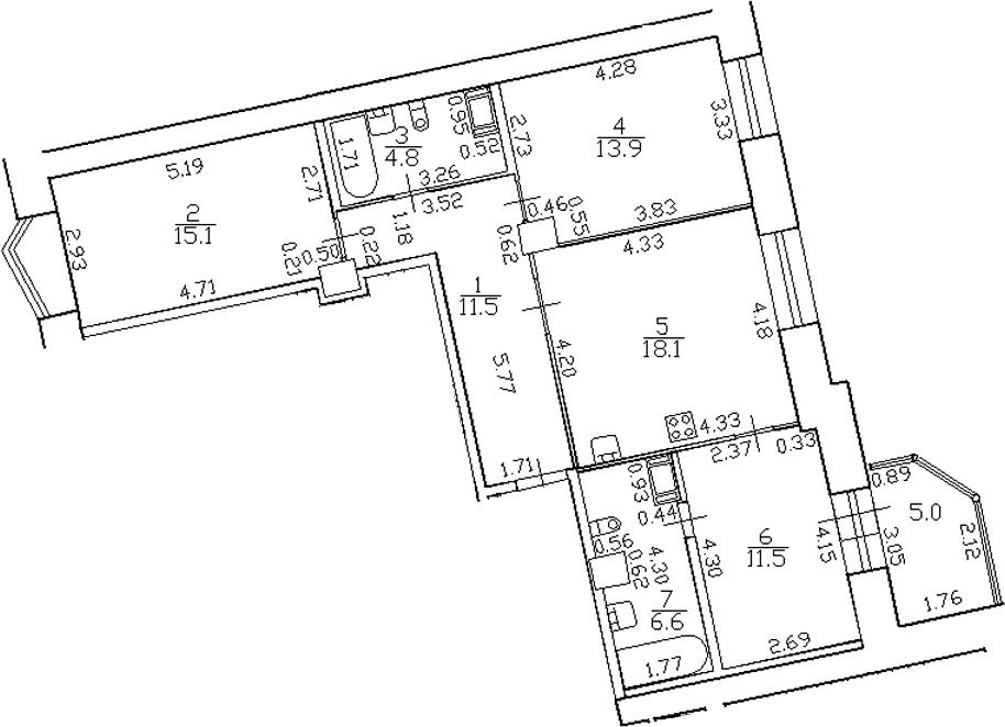 4-комнатная 86 м<sup>2</sup> на 5 этаже