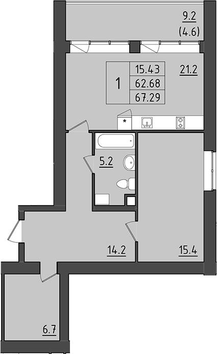 2-комнатная 81 м<sup>2</sup> на 1 этаже