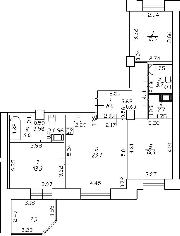 4-комнатная 90 м<sup>2</sup> на 6 этаже