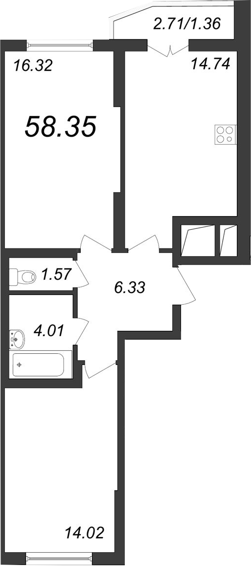 2-к.кв, 61.52 м²
