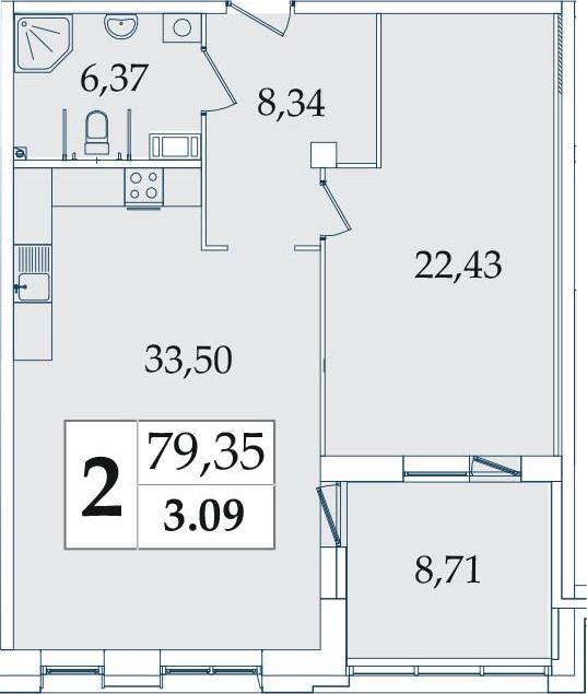 2-комнатная 79 м<sup>2</sup> на 3 этаже