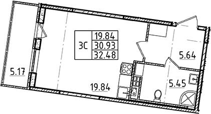 Студия 36 м<sup>2</sup> на 3 этаже