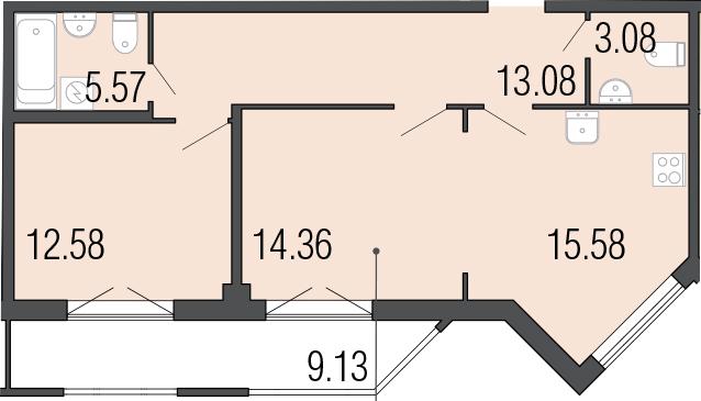 2-к.кв, 73.38 м²