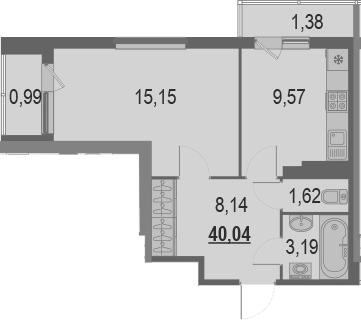 1-комнатная 42 м<sup>2</sup> на 21 этаже
