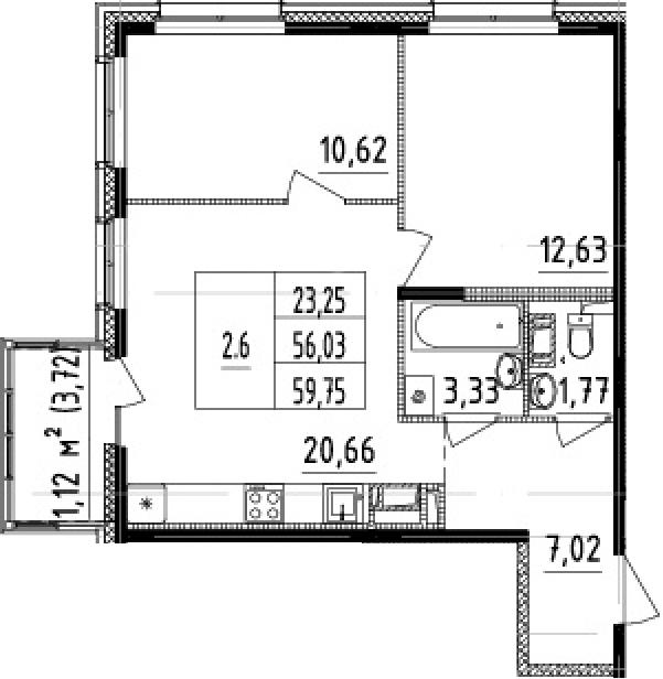 3-комнатная 59 м<sup>2</sup> на 6 этаже