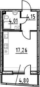 Студия 30 м<sup>2</sup> на 23 этаже