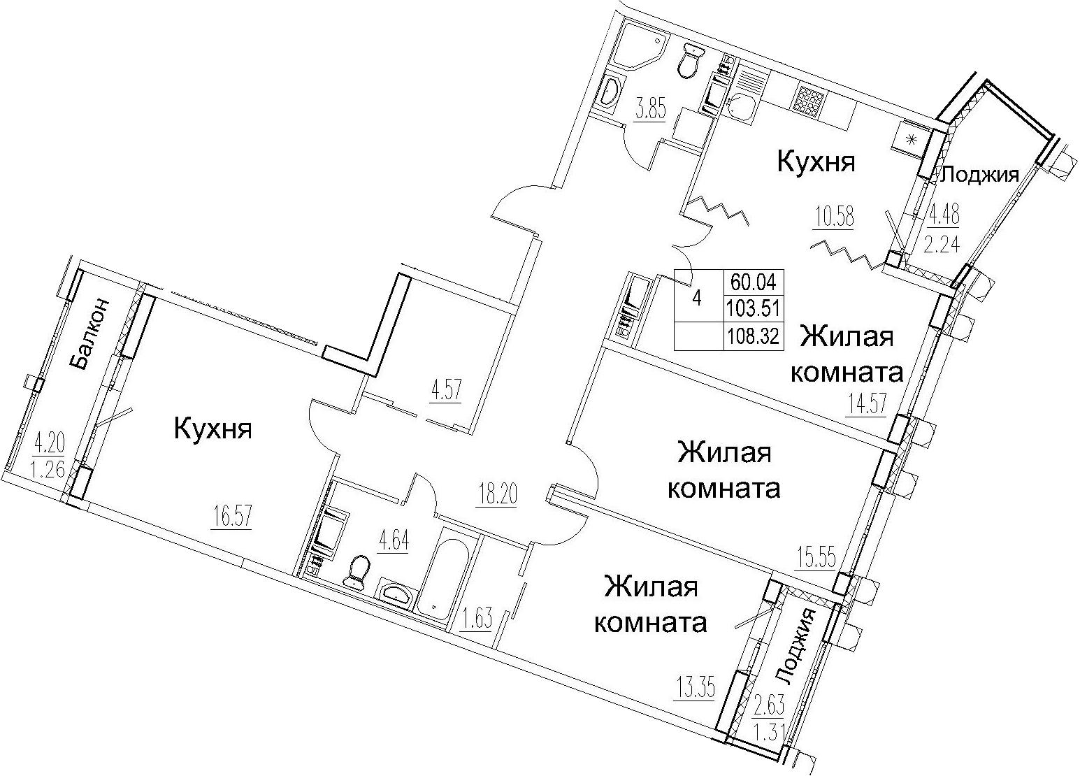 4-комнатная 114 м<sup>2</sup> на 12 этаже