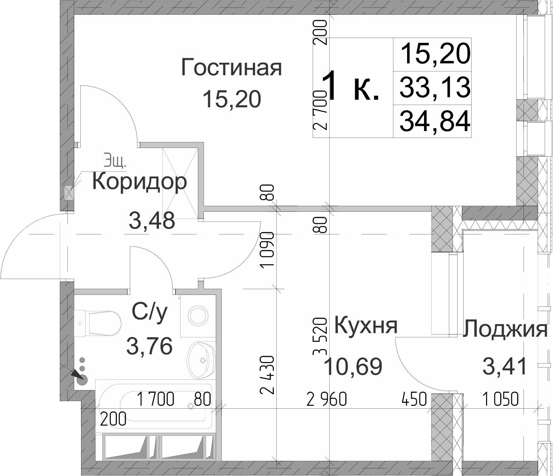 1-к.кв, 36.54 м²