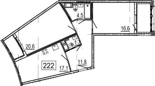 3-комнатная 80 м<sup>2</sup> на 9 этаже