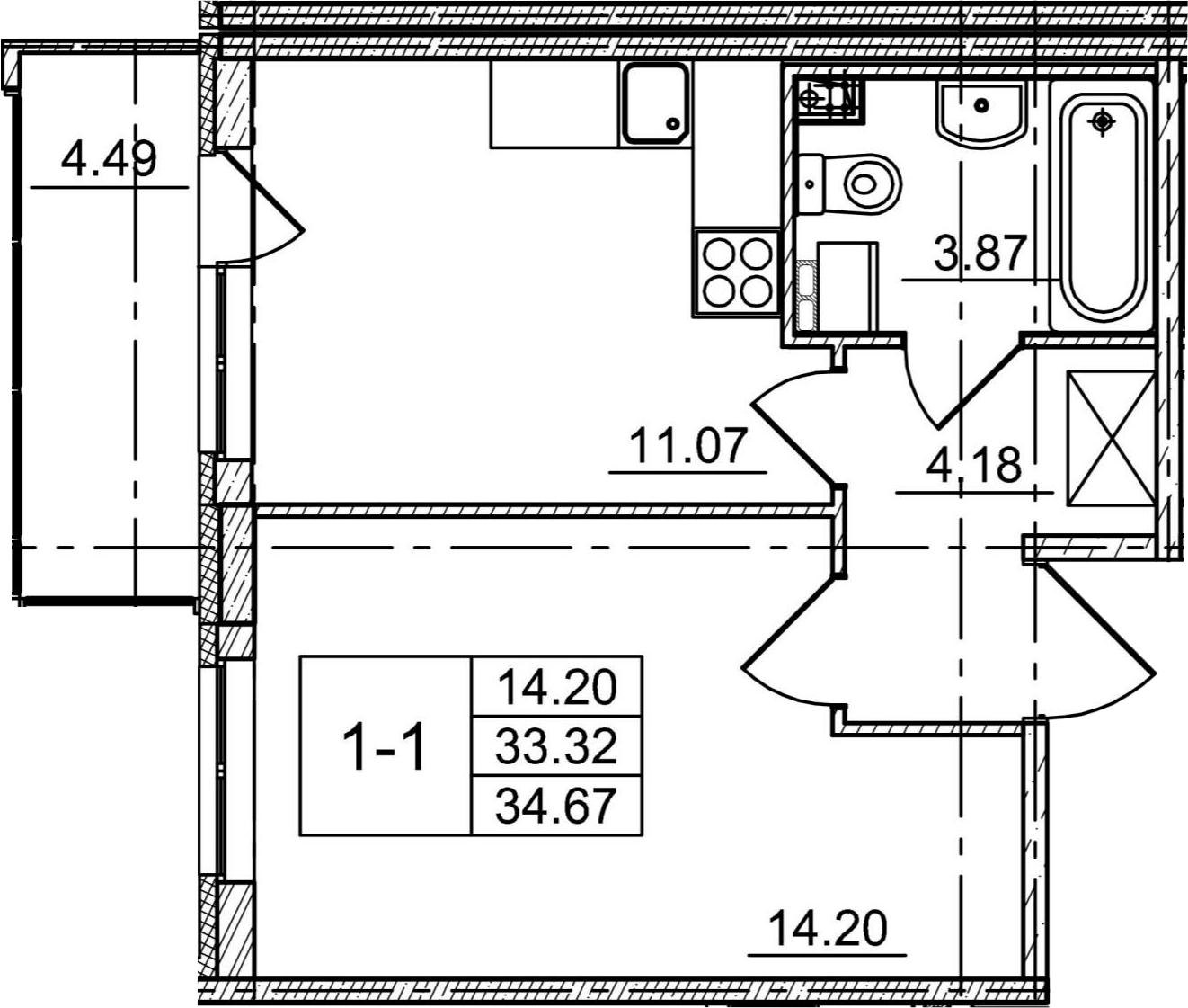 1-комнатная 37 м<sup>2</sup> на 4 этаже