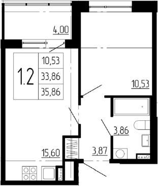 2-к.кв (евро), 37.86 м²