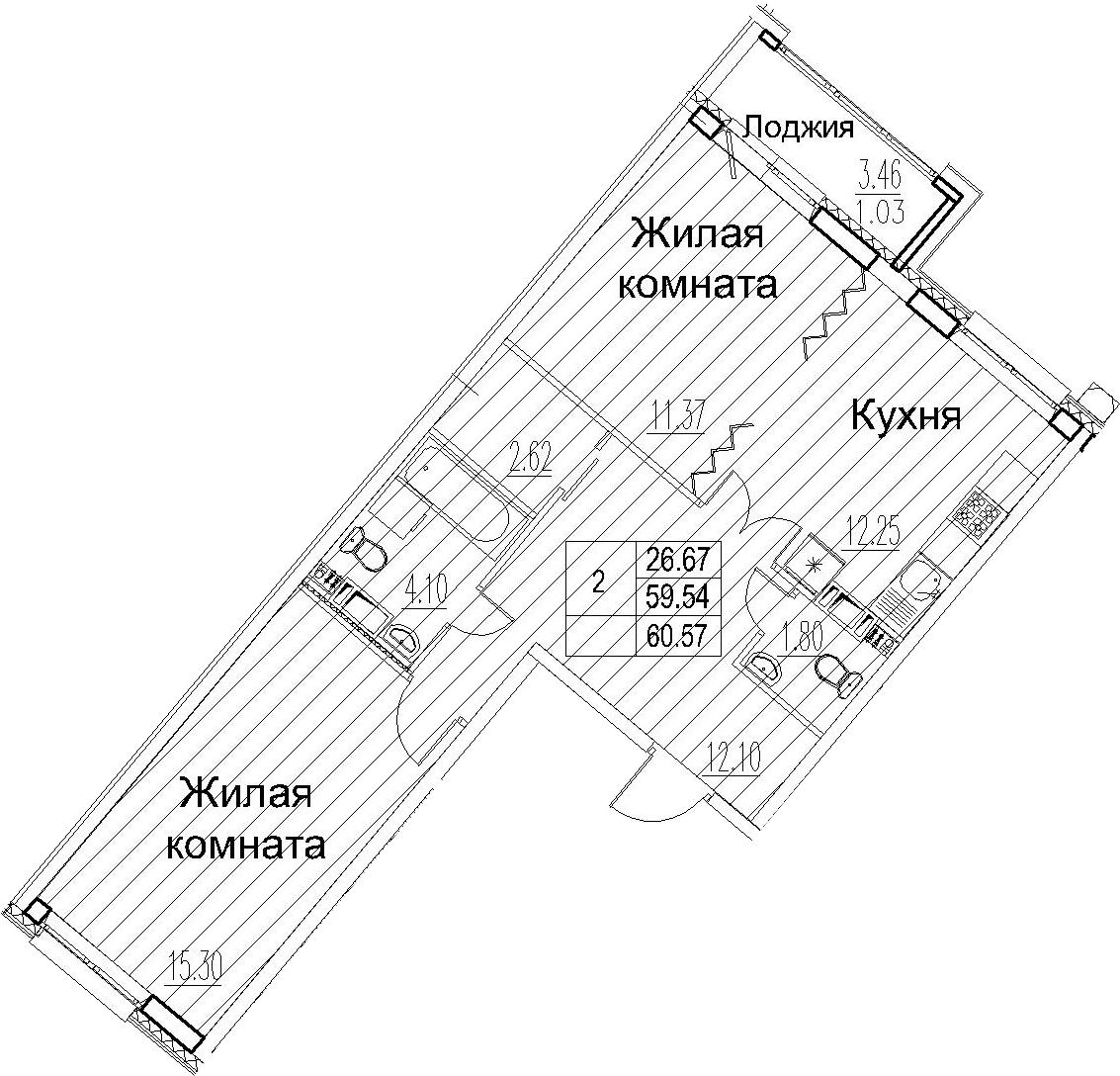 2-комнатная 62 м<sup>2</sup> на 12 этаже