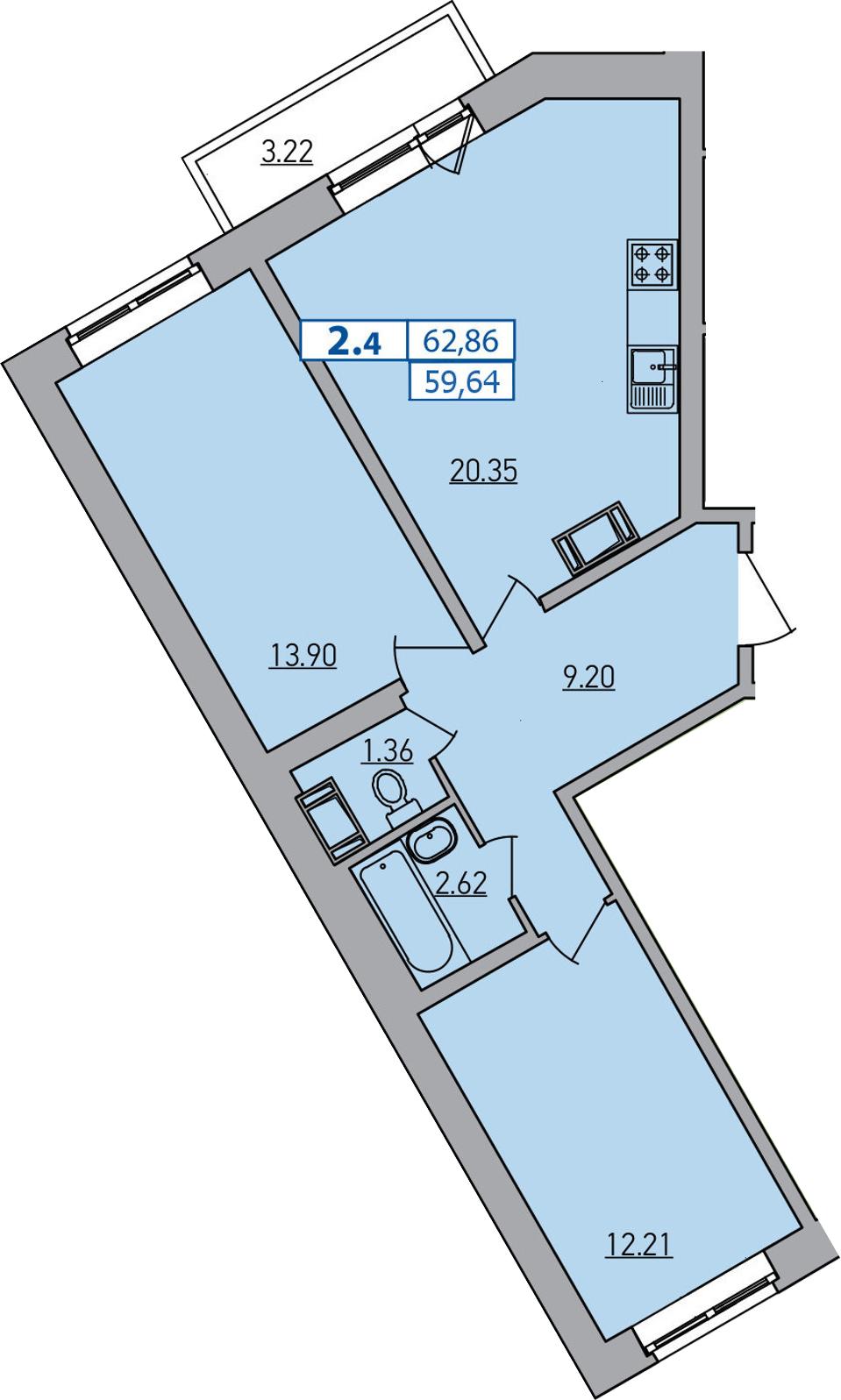 3-к.кв (евро), 62.86 м²