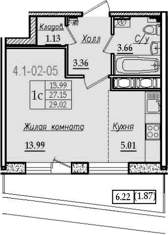 Студия 33 м<sup>2</sup> на 2 этаже