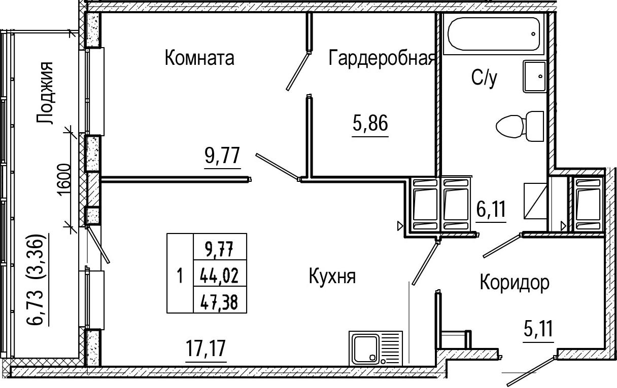2-комнатная 50 м<sup>2</sup> на 22 этаже