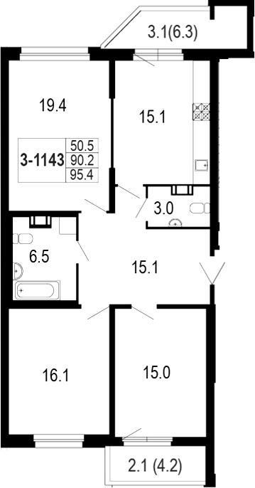 4-комнатная 100 м<sup>2</sup> на 11 этаже
