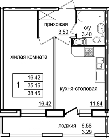 1-комнатная 41 м<sup>2</sup> на 5 этаже