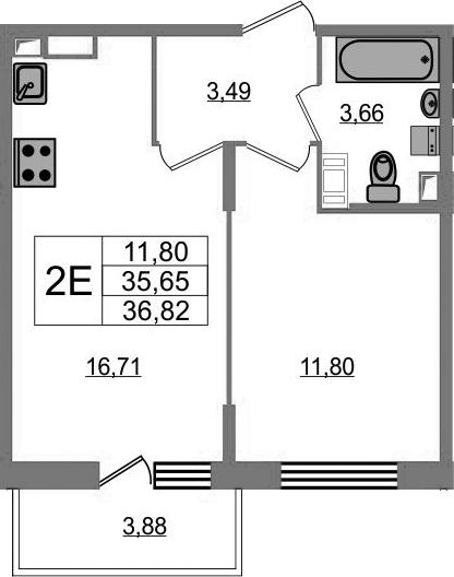 2-комнатная 39 м<sup>2</sup> на 18 этаже