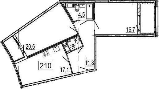 3-комнатная 80 м<sup>2</sup> на 6 этаже