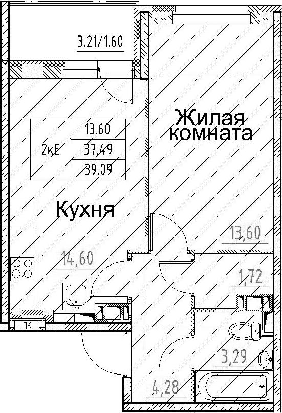 2-к.кв (евро), 40.69 м²