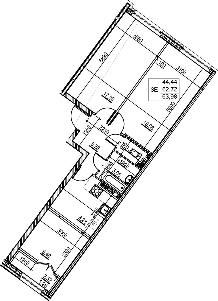 3-комнатная 65 м<sup>2</sup> на 5 этаже