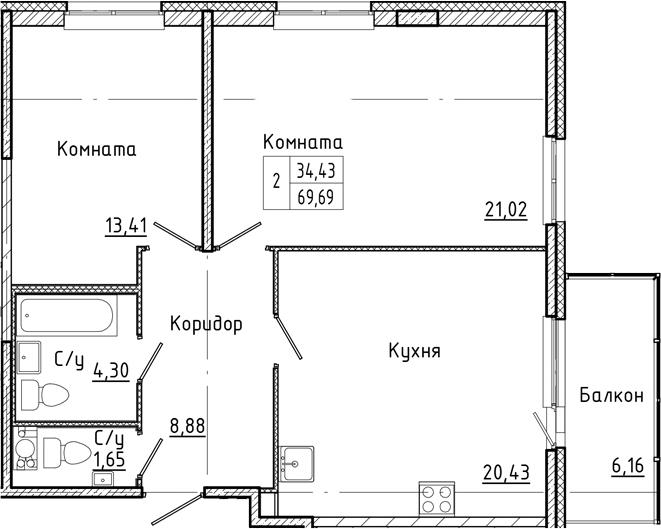 3-комнатная 75 м<sup>2</sup> на 4 этаже
