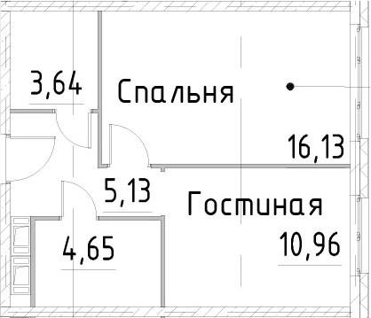 2-к.кв, 40.51 м²