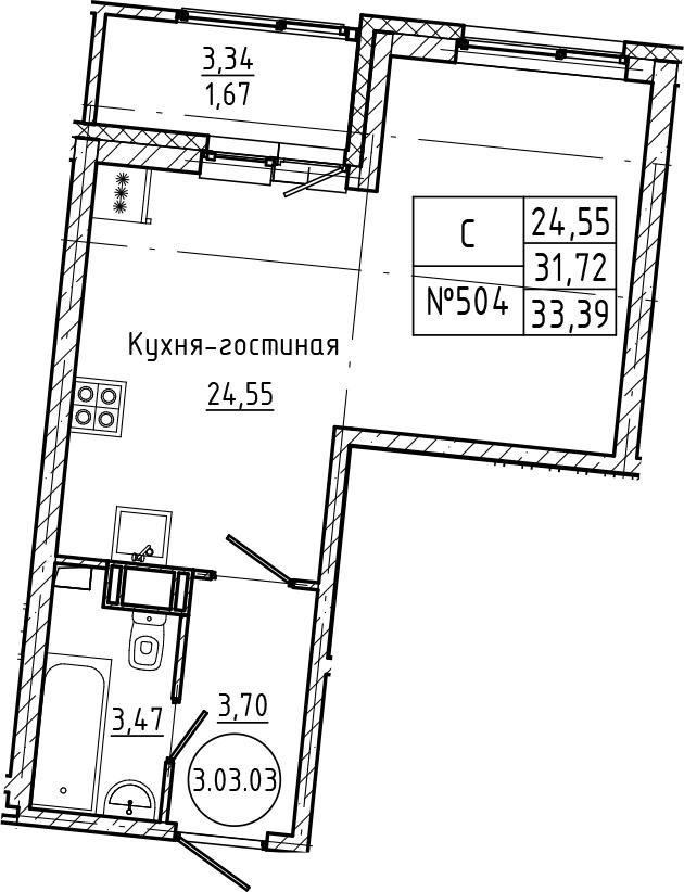 Студия 35 м<sup>2</sup> на 3 этаже