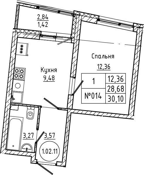 1-комнатная 31 м<sup>2</sup> на 2 этаже