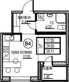 Студия, 27.54 м²