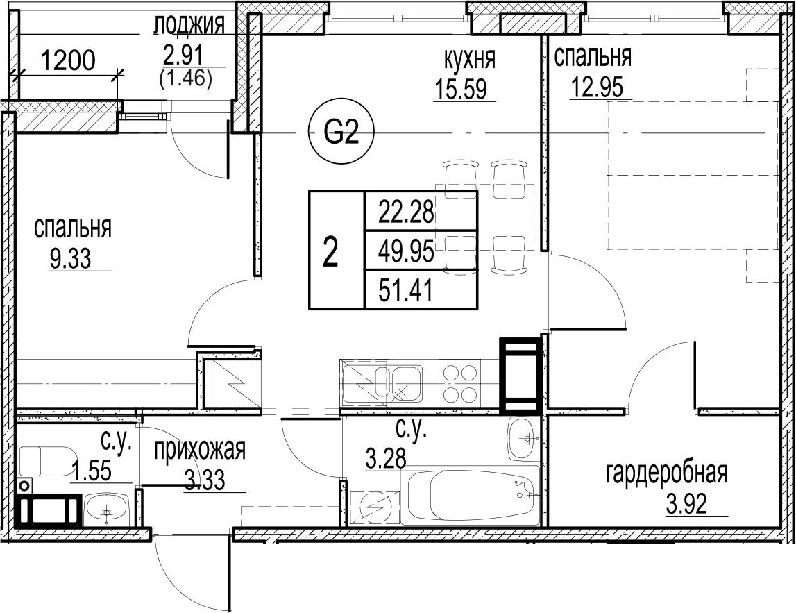 2-комнатная 52 м<sup>2</sup> на 12 этаже