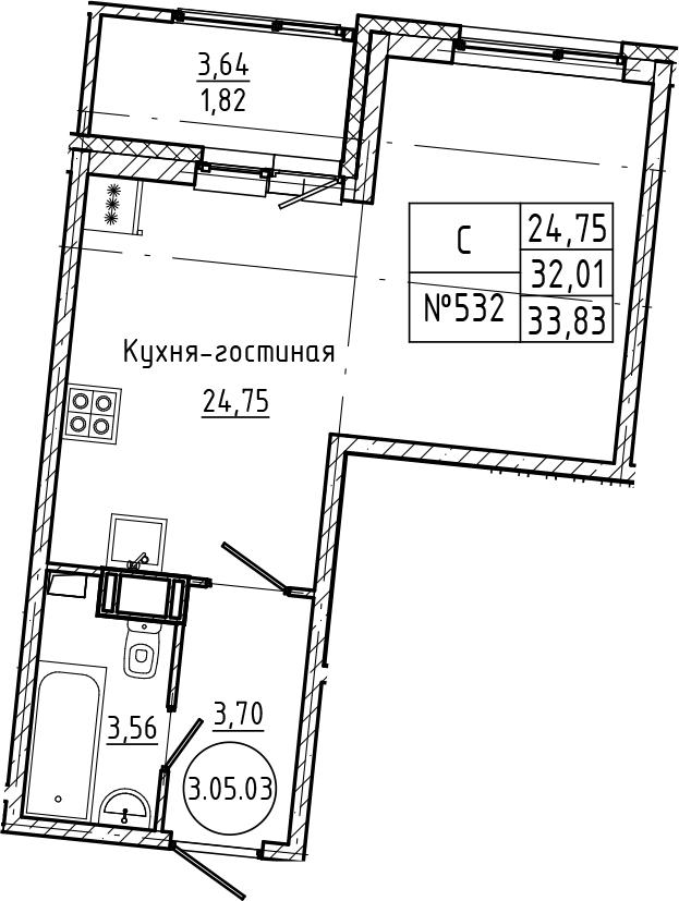 Студия 35 м<sup>2</sup> на 5 этаже