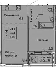 2-комнатная 42 м<sup>2</sup> на 12 этаже