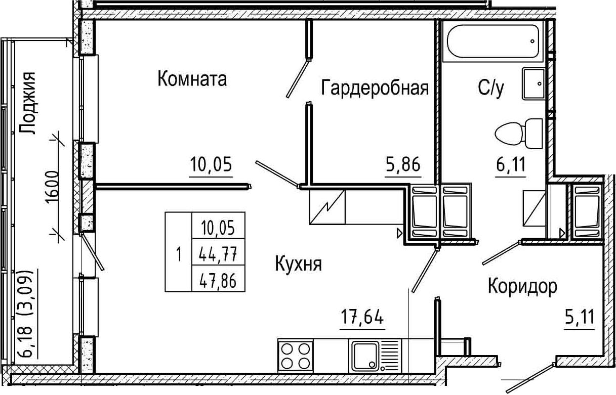 2-комнатная 50 м<sup>2</sup> на 21 этаже