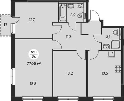 3-к.кв, 78.19 м²