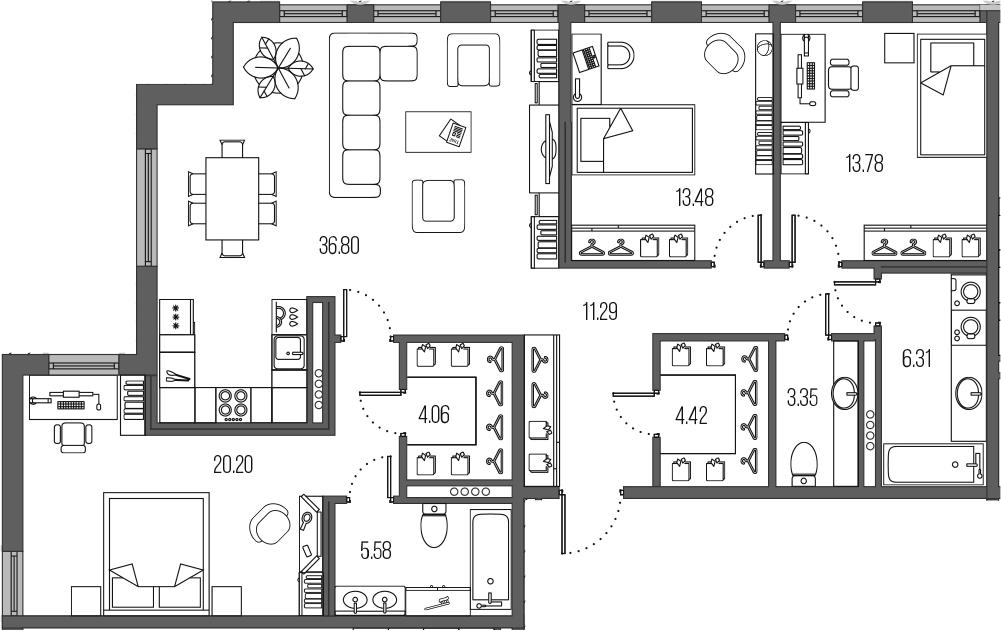 4-комнатная 119 м<sup>2</sup> на 4 этаже