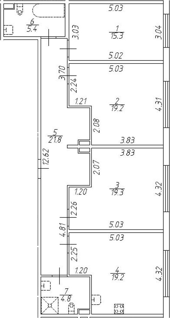 4-комнатная 105 м<sup>2</sup> на 1 этаже