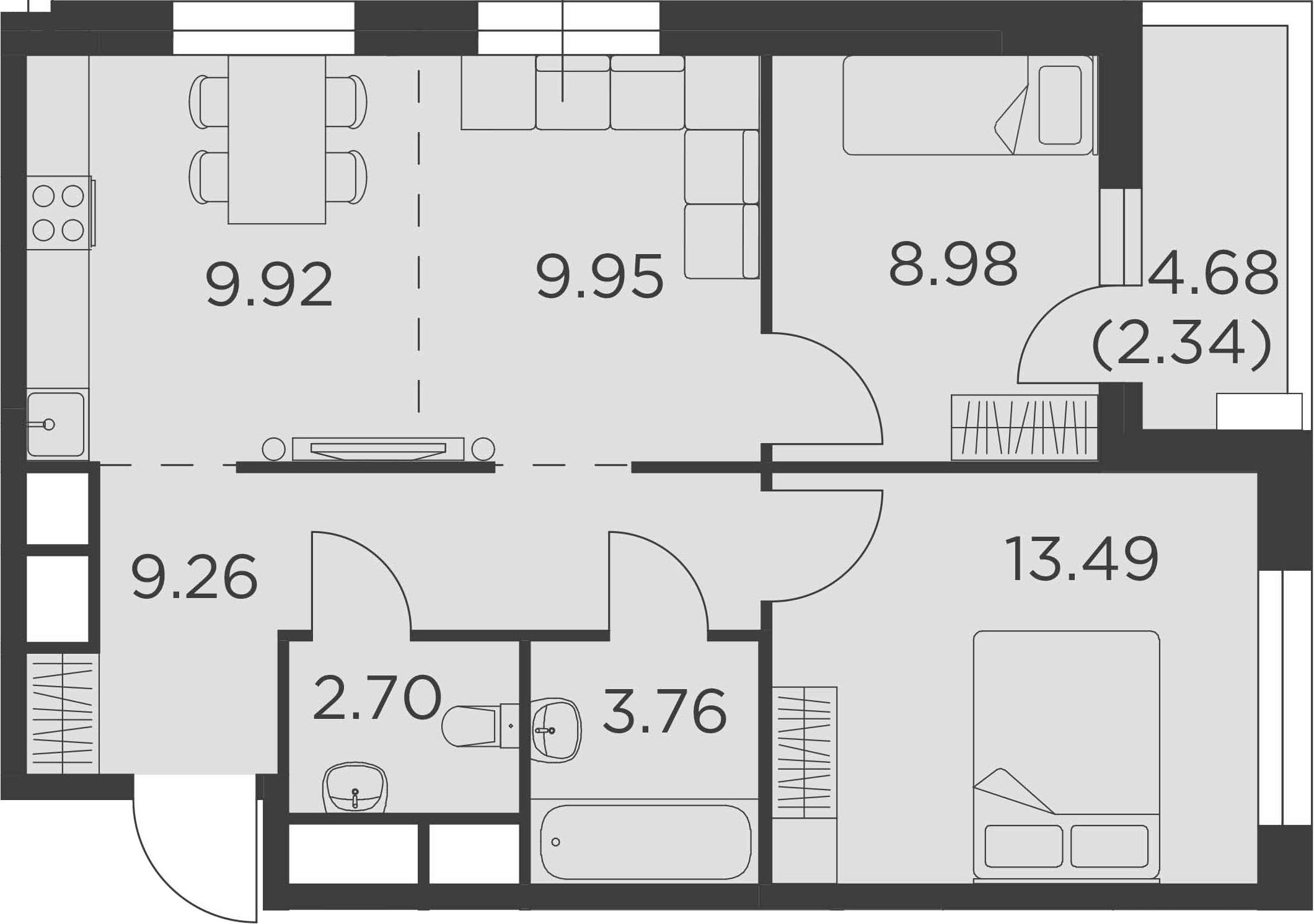 3-к.кв (евро), 62.74 м²