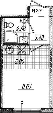 Студия 19 м<sup>2</sup> на 8 этаже