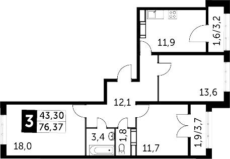 3-к.кв, 79.87 м²
