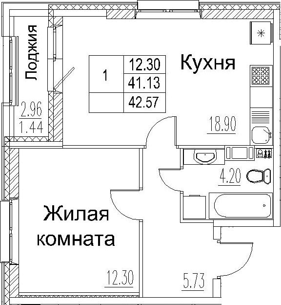 2-комнатная 44 м<sup>2</sup> на 6 этаже